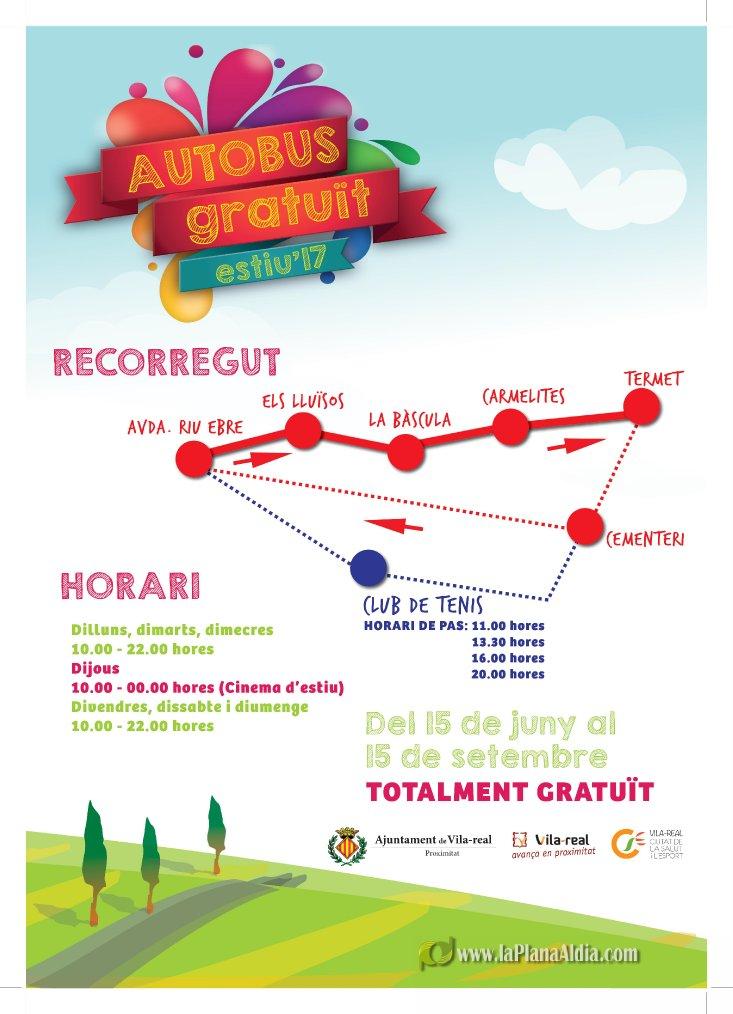 Noticias de vila real el bus gratuito al termet arranca for Horario piscina vila real