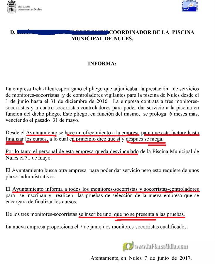 Noticias de nules el informe t cnico sobre la piscina for Piscina nules